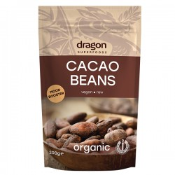 Boabe de cacao intregi bio 200g Dragon Superfoods